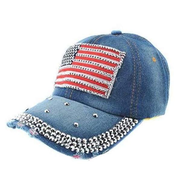 d528a15de9778 Denim Bling American Flag Rhinestone Faded Hat USA NWT